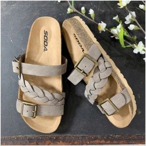 Shoes - Braided faux suede sandals